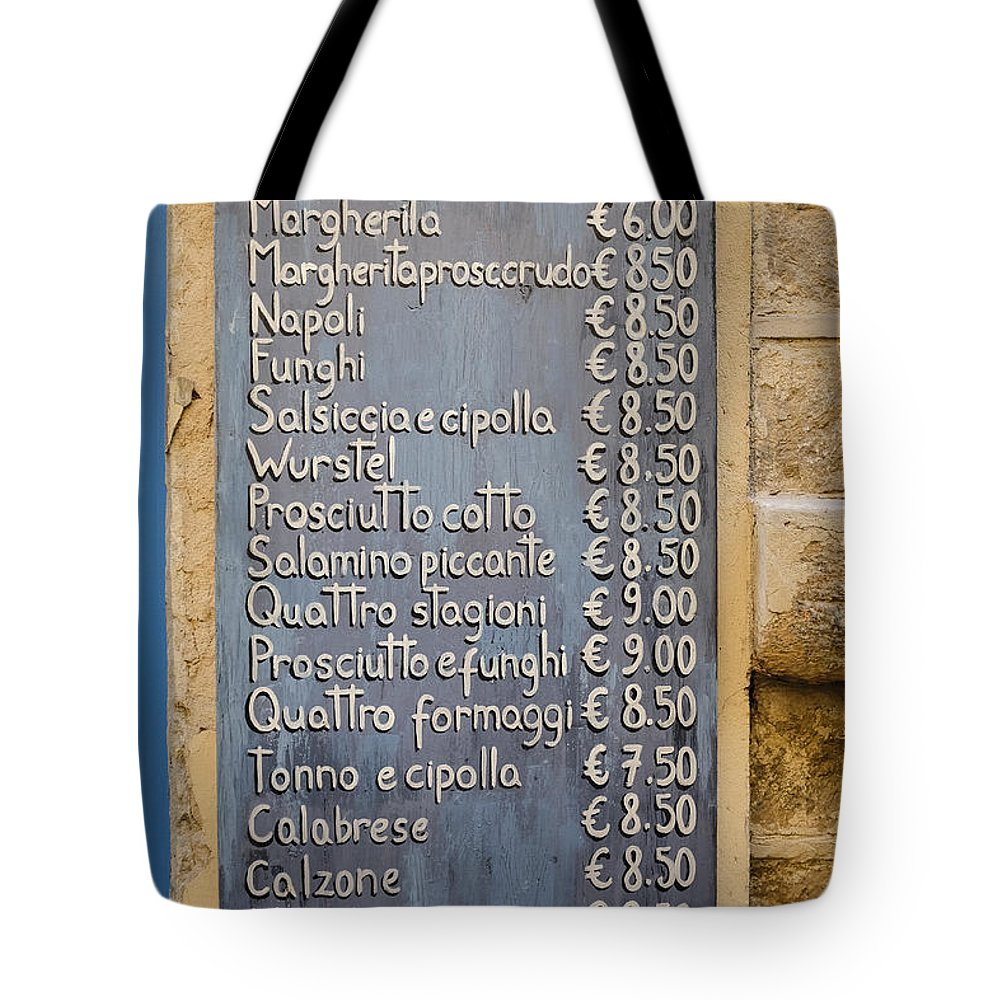 Pizza Tote Bag featuring the photograph Pizza Menu Florence Italy by Edward Fielding