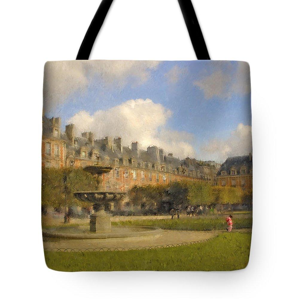 Paris Tote Bag featuring the digital art Place Des Vosges by Mick Burkey