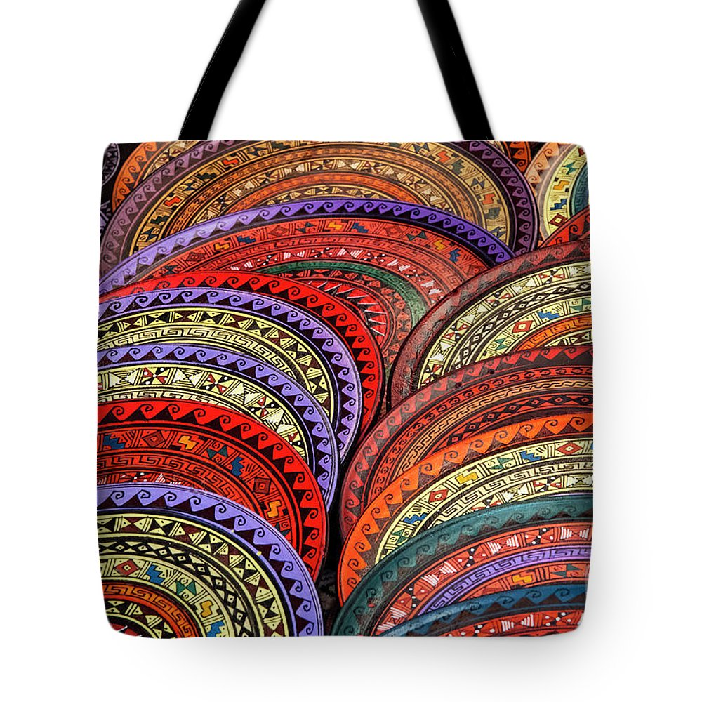 Pisac Market Tote Bag featuring the photograph Place Mats by Bob Phillips