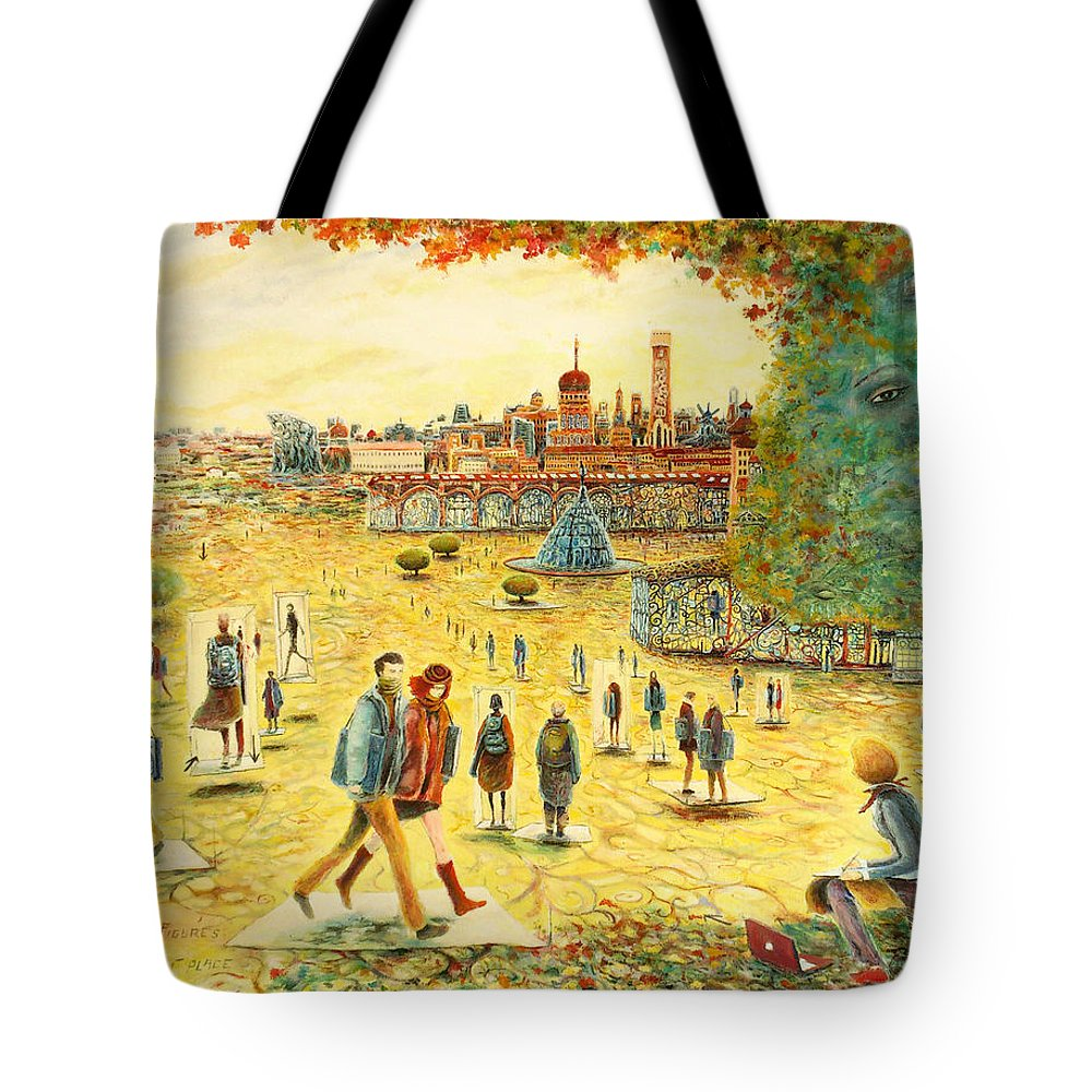 Carlos Pardo Tote Bag featuring the painting Place The Figures In The Correct Place by Carlos Pardo