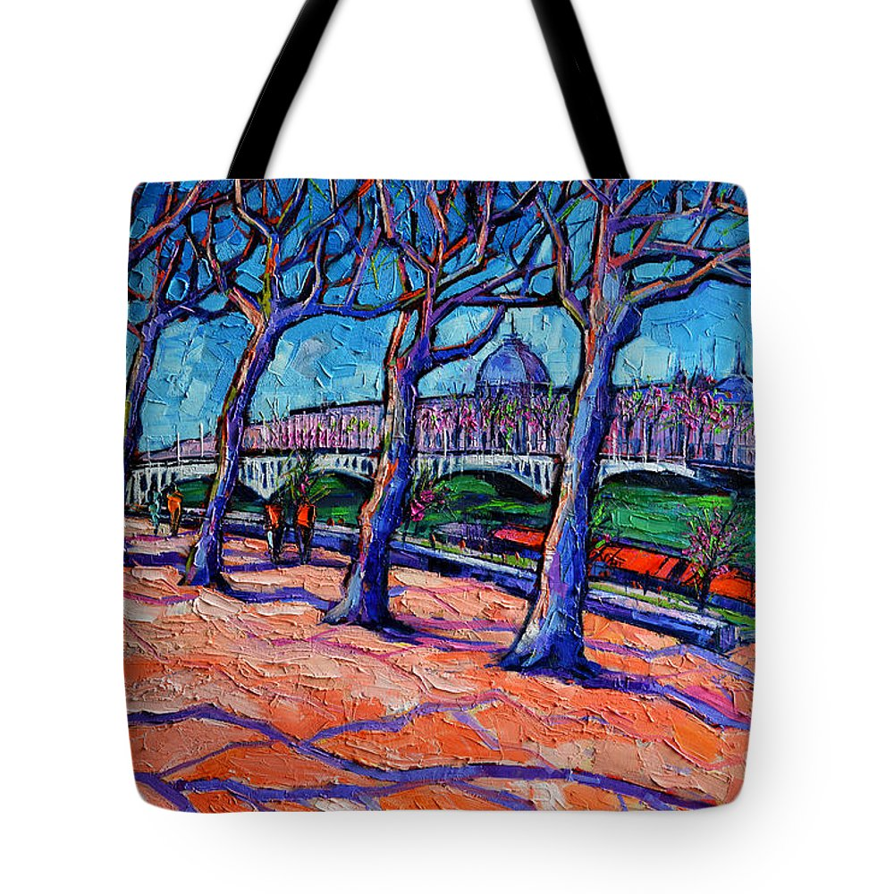 Plane Trees Along The Rhone River Spring In Lyon Tote Bag featuring the painting Plane Trees Along The Rhone River - Spring In Lyon By Mona Edulesco by Mona Edulesco
