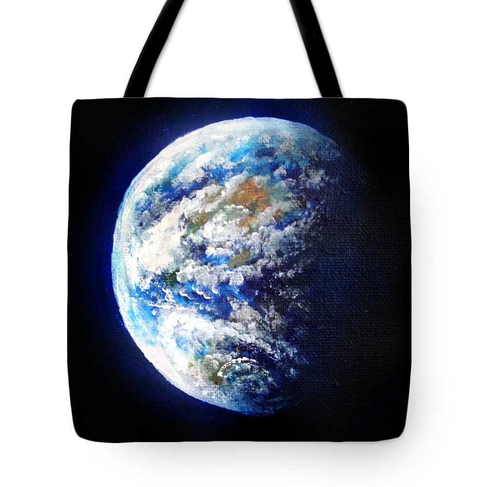 Earth Tote Bag featuring the painting Planet Earth. Space Art by Sofia Metal Queen