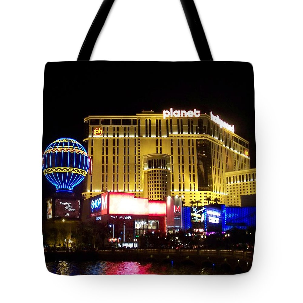 Vegas Tote Bag featuring the photograph Planet Hollywood By Night by Anita Burgermeister