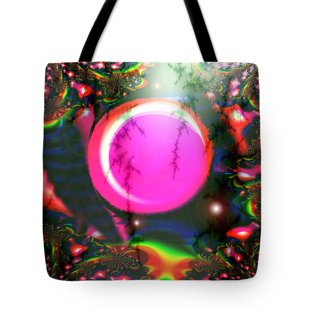 Planets Solar System Rainbow Stars Space Abstract Moon Orb Pink Colorful Tote Bag featuring the digital art Planet Rainbow by Andrea Lawrence