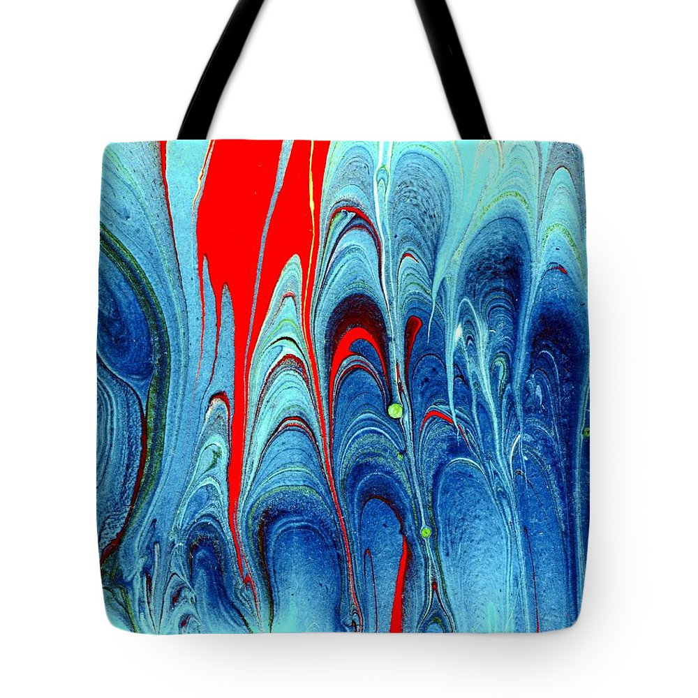 Blue And Red Tote Bag featuring the painting Planetary by Karin Kohlmeier