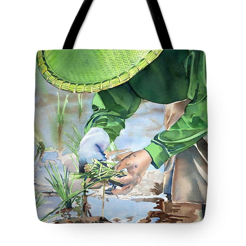 Rice Tote Bag featuring the painting Planting The Future by Joanne Ferster