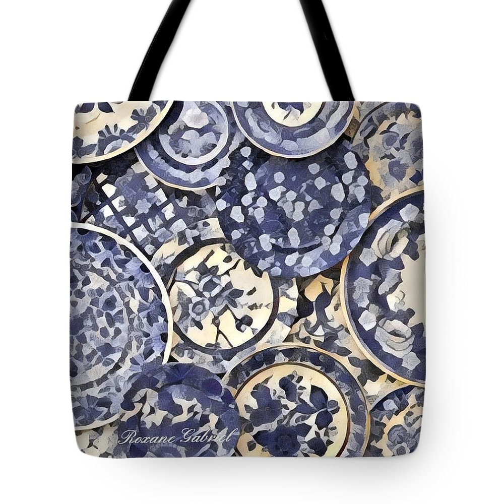 Tote Bag featuring the painting Plates Party 1 by Roxane Gabriel