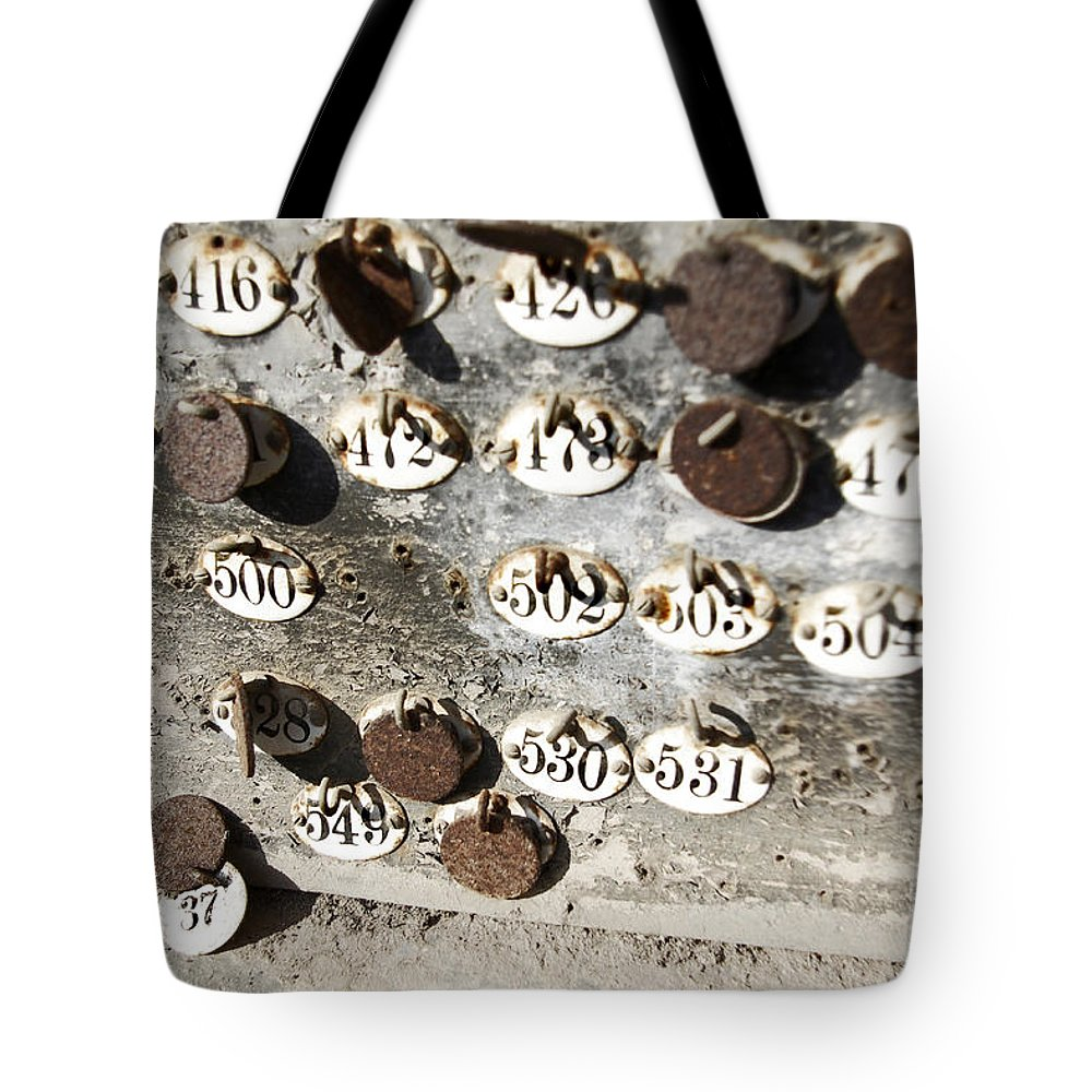 Abandoned Tote Bag featuring the photograph Plates With Numbers II by Carlos Caetano