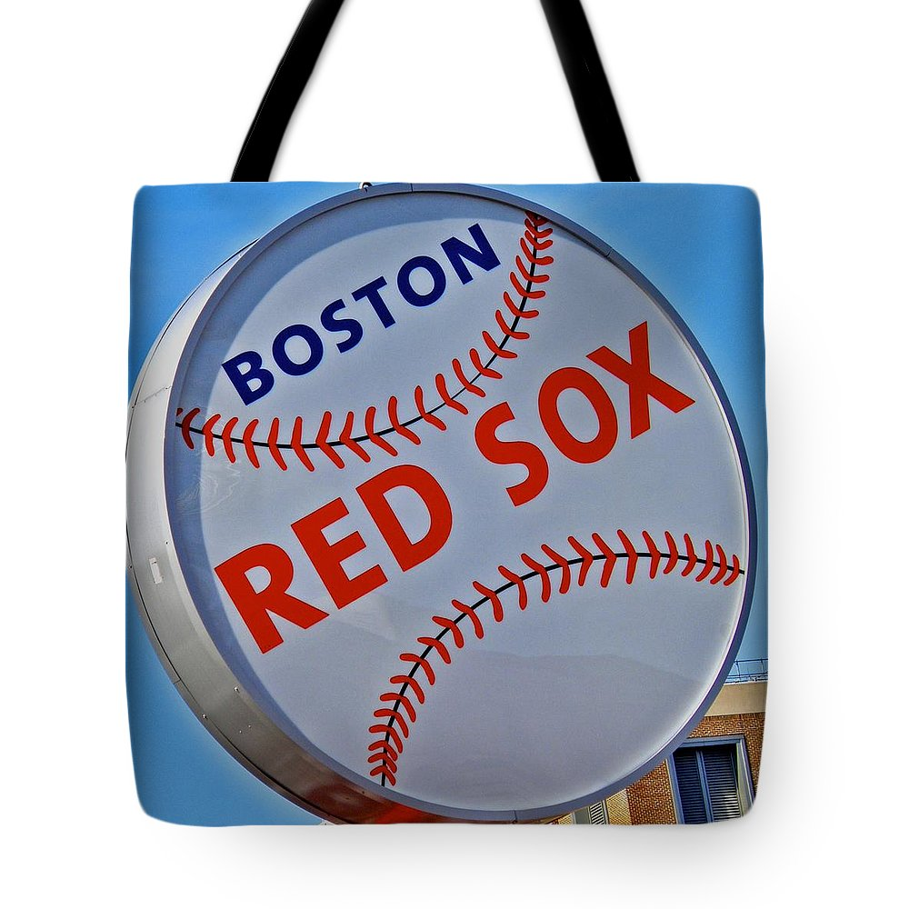 Red Sox Tote Bag featuring the photograph Play Ball by Donna Shahan