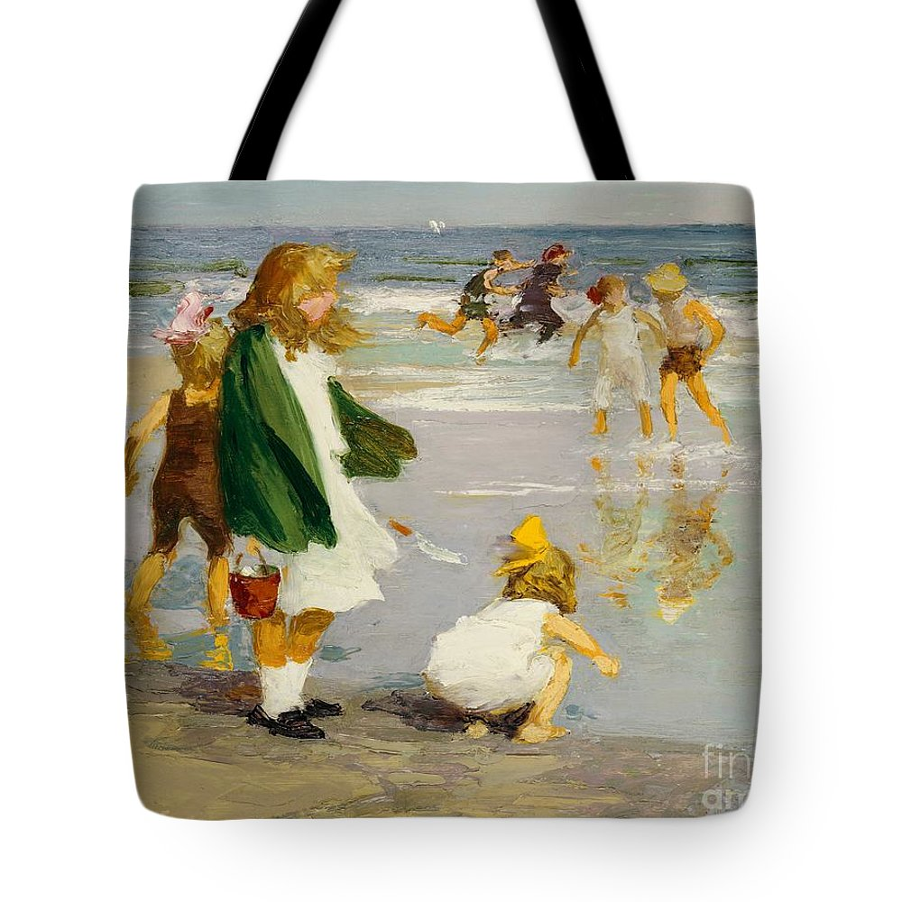 Children; Male; Female; Girl; Girls; Playing; Play; Surf; Beach; Seaside; Holiday; Vacation; Fun; Running; Windy; Summer; Summertime; Innocence; Childhood; Paddling; Vacations Tote Bag featuring the painting Play In The Surf by Edward Henry Potthast