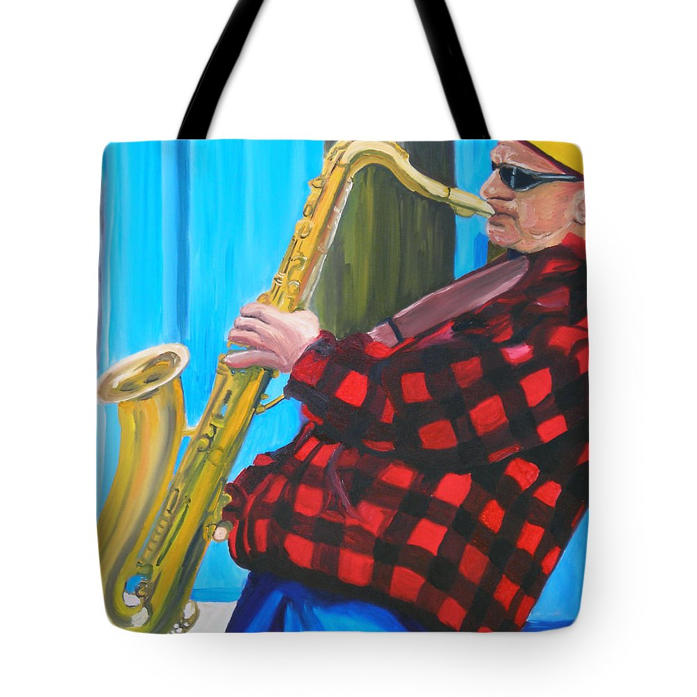 Sax Player Tote Bag featuring the painting Play It Mr Sax Man by Michael Lee
