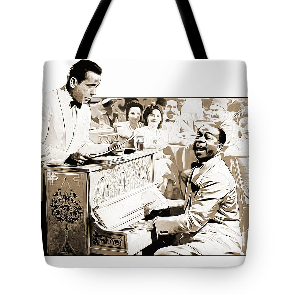 Casablanca Tote Bag featuring the digital art Play it Sam by Greg Joens