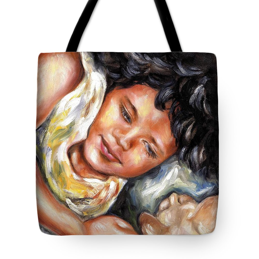 Child Tote Bag featuring the painting Play Time by Hiroko Sakai