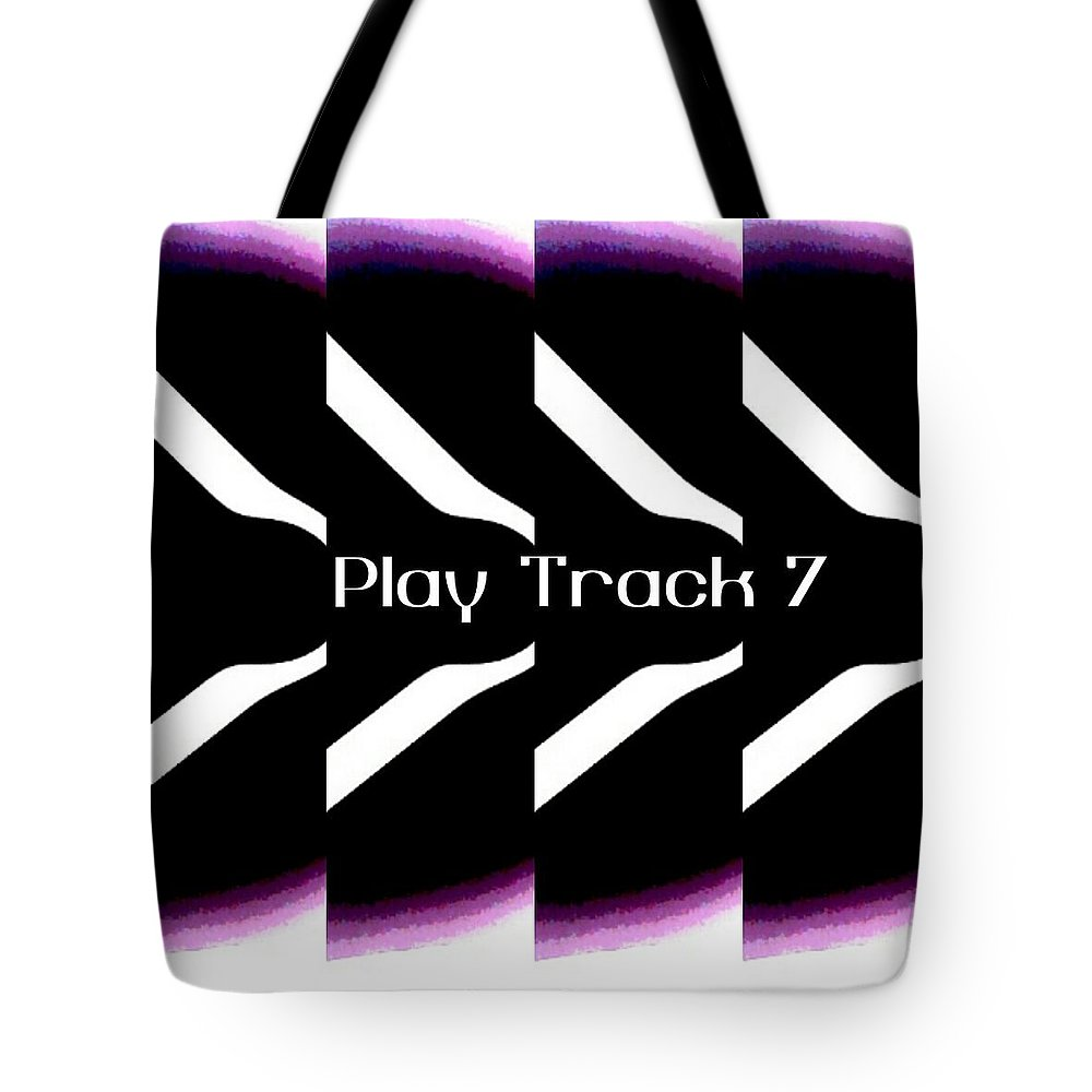 Music Tote Bag featuring the mixed media Play Track 7 by Shirl Denise Frisby