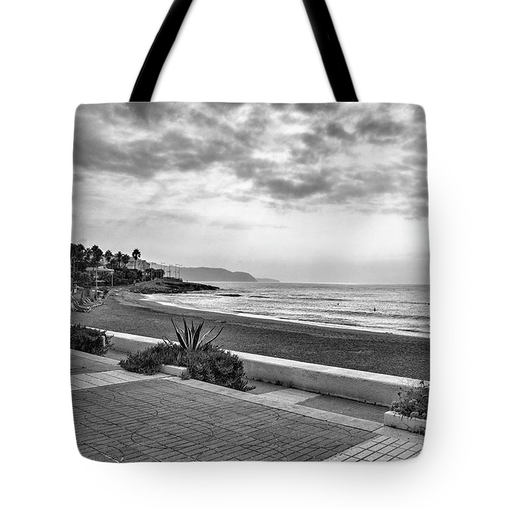 Monochromephotography Tote Bag featuring the photograph Playa Burriana, Nerja by John Edwards