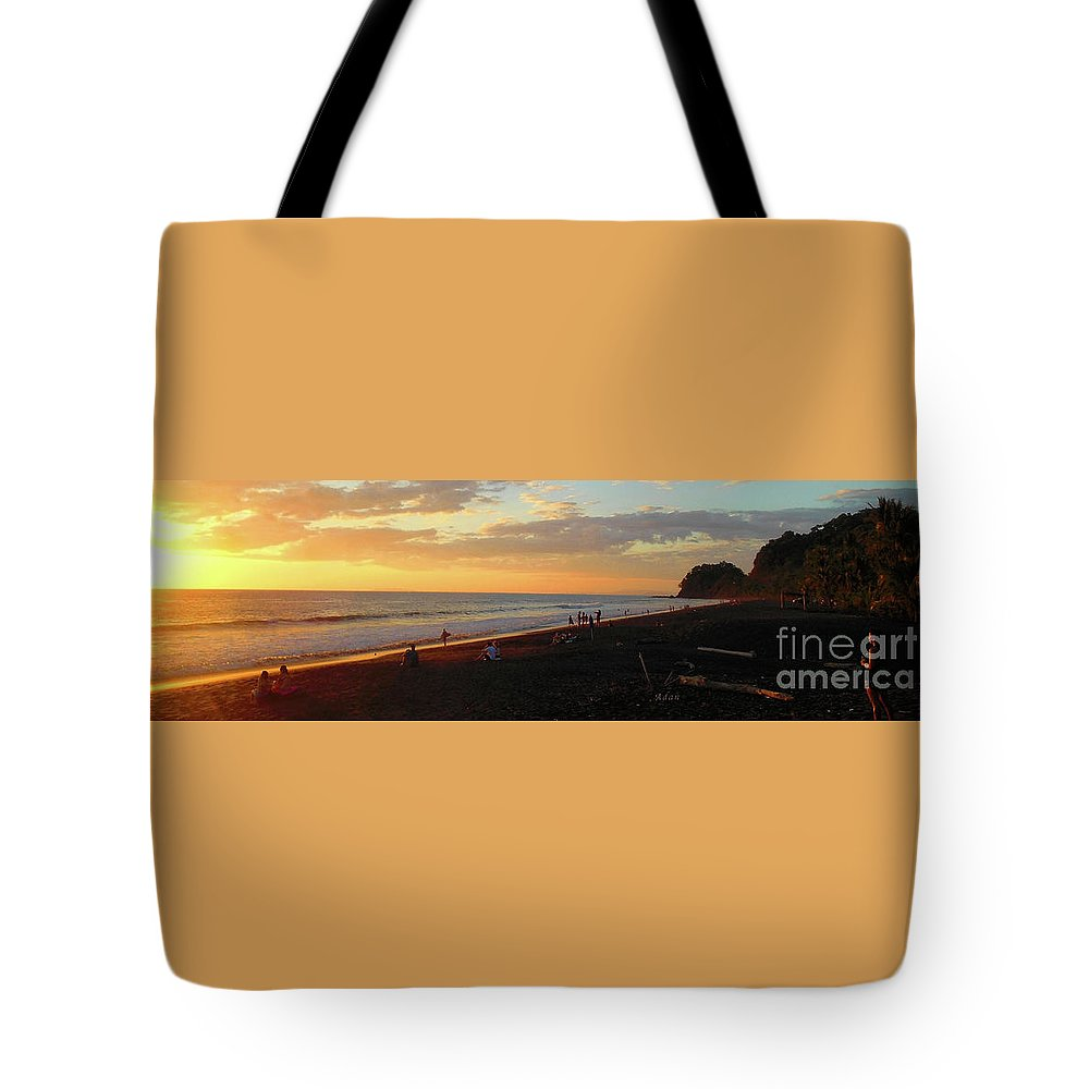 Costa Rica Tote Bag featuring the photograph Playa Hermosa Puntarenas Costa Rica - Sunset A One Panorama by Felipe Adan Lerma