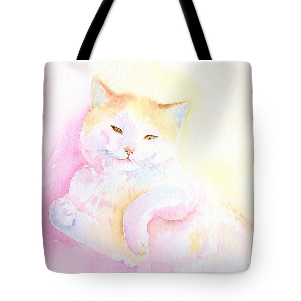 Cat Tote Bag featuring the painting Playful Cat I by Elizabeth Lock