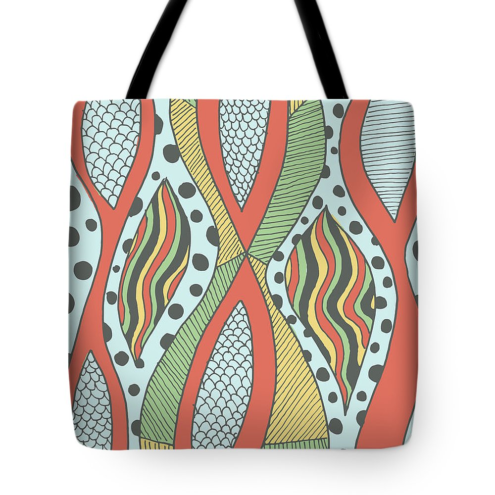 Abstract Tote Bag featuring the drawing Playful Insanity by Jill Lenzmeier