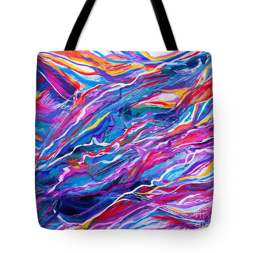 Filaments Lines Strokes Rushing Water Full Of Vibrant Color And Dynamic Movement Energy Contemporary Original Abstract Tote Bag featuring the painting Playful stream by Priscilla Batzell Expressionist Art Studio Gallery