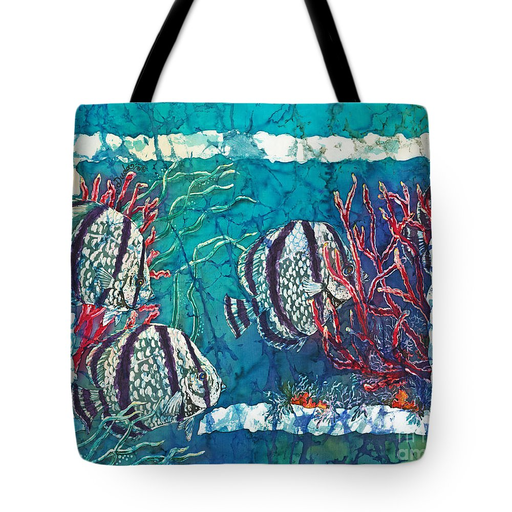 Fish Tote Bag featuring the painting Playful Trio by Sue Duda