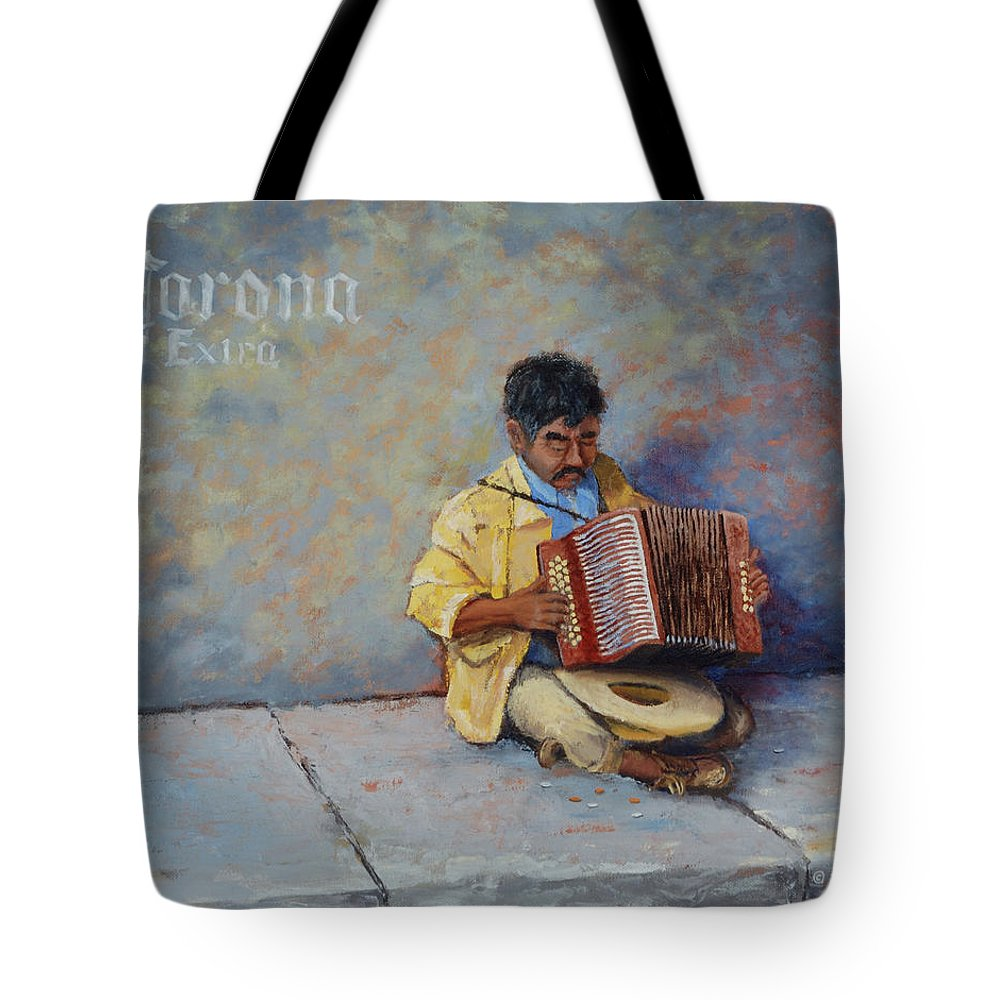Mexico Tote Bag featuring the painting Playing For Pesos by Jerry McElroy