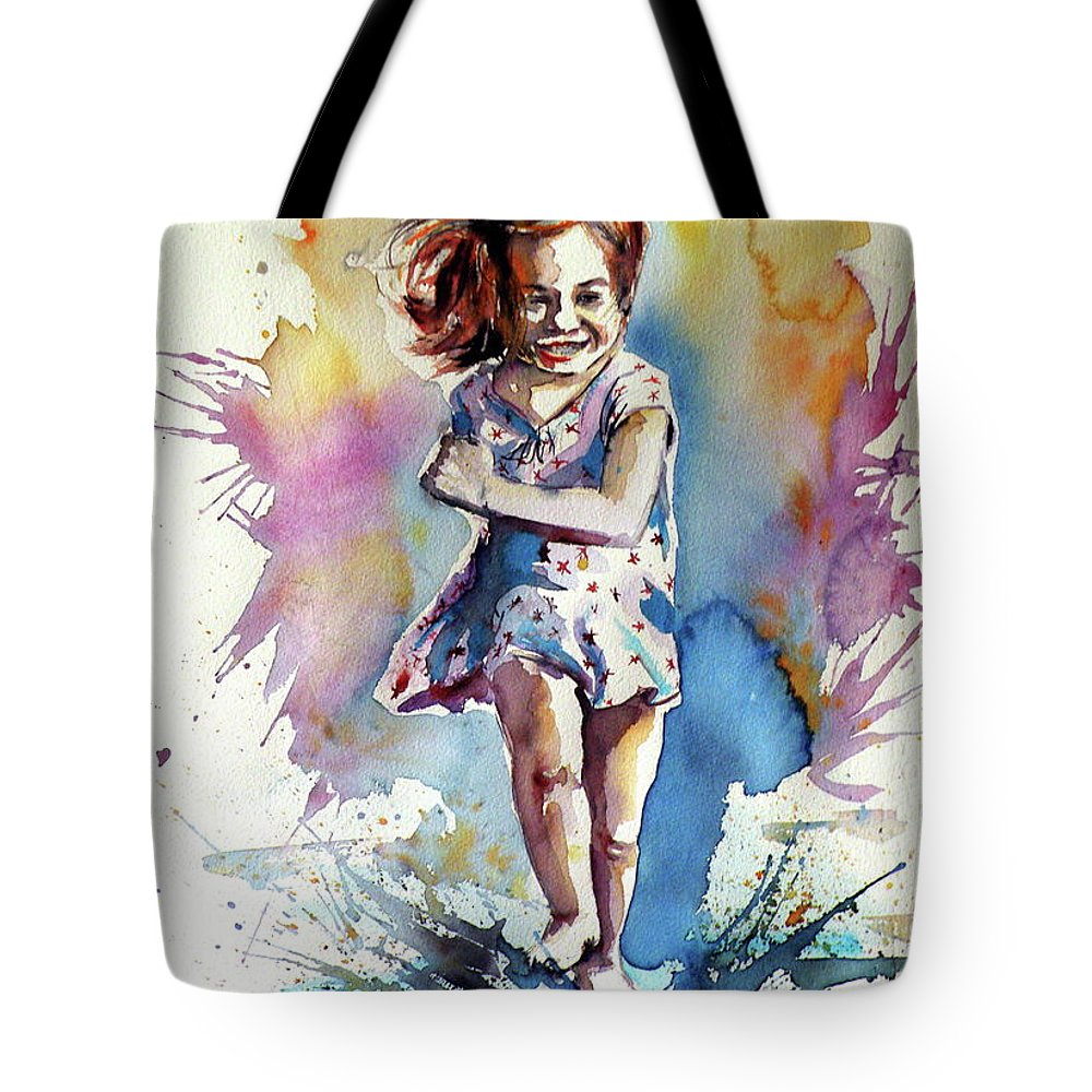Playing Tote Bag featuring the painting Playing Girl by Kovacs Anna Brigitta