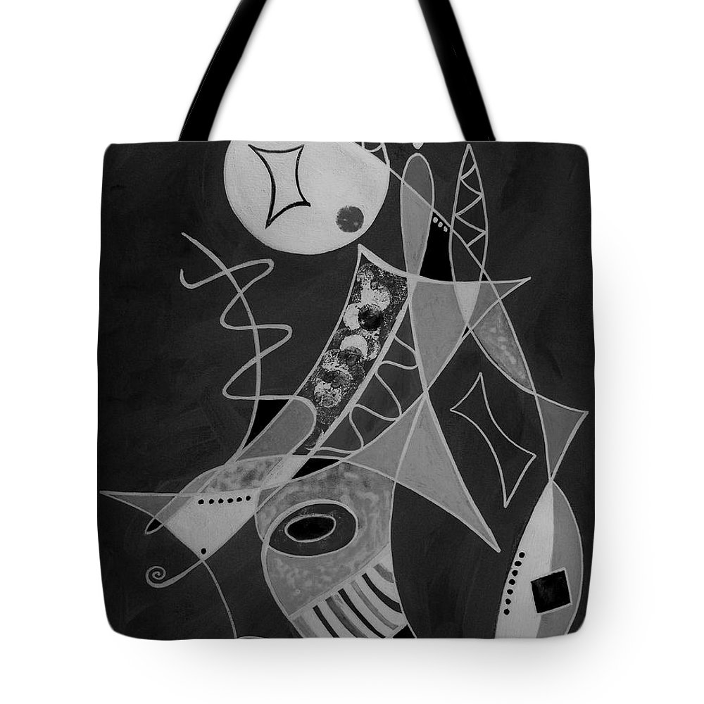 Abstract Tote Bag featuring the painting Playing Go Fish by Ruth Palmer