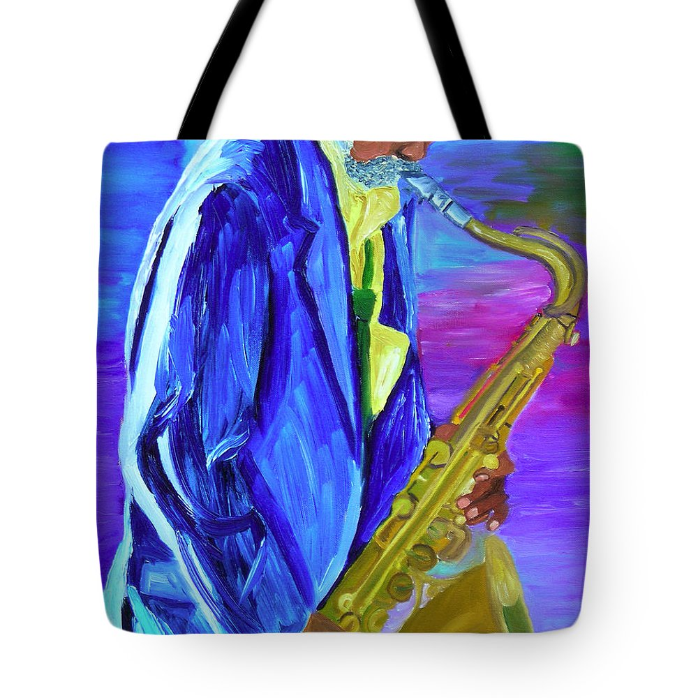 Street Musician Tote Bag featuring the painting Playing The Blues by Michael Lee