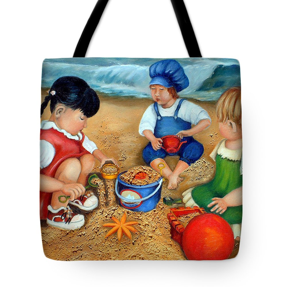 Beach Tote Bag featuring the painting Playtime At The Beach by Enzie Shahmiri