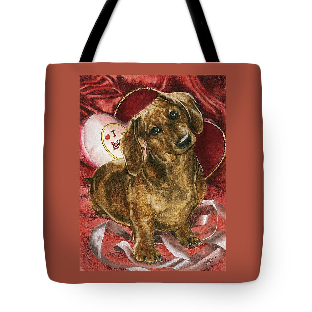 Purebred Tote Bag featuring the mixed media Please Be Mine by Barbara Keith