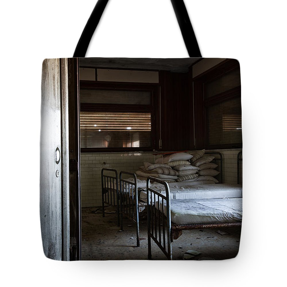 Abandoned Tote Bag featuring the photograph Please Dont Turn Out The Light - Urban Exploration by Dirk Ercken