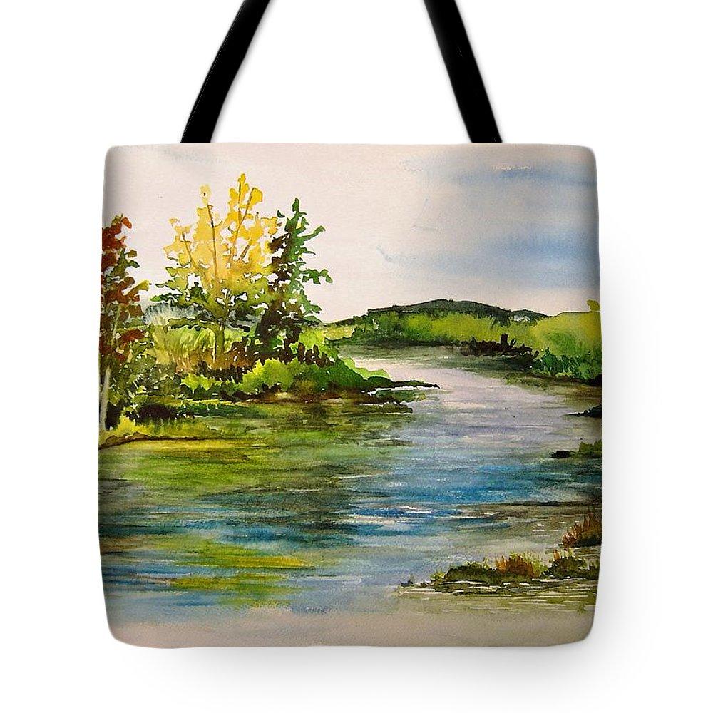 Grand Beach Manitoba Lagoon Tote Bag featuring the painting Plein Air At Grand Beach Lagoon by Joanne Smoley
