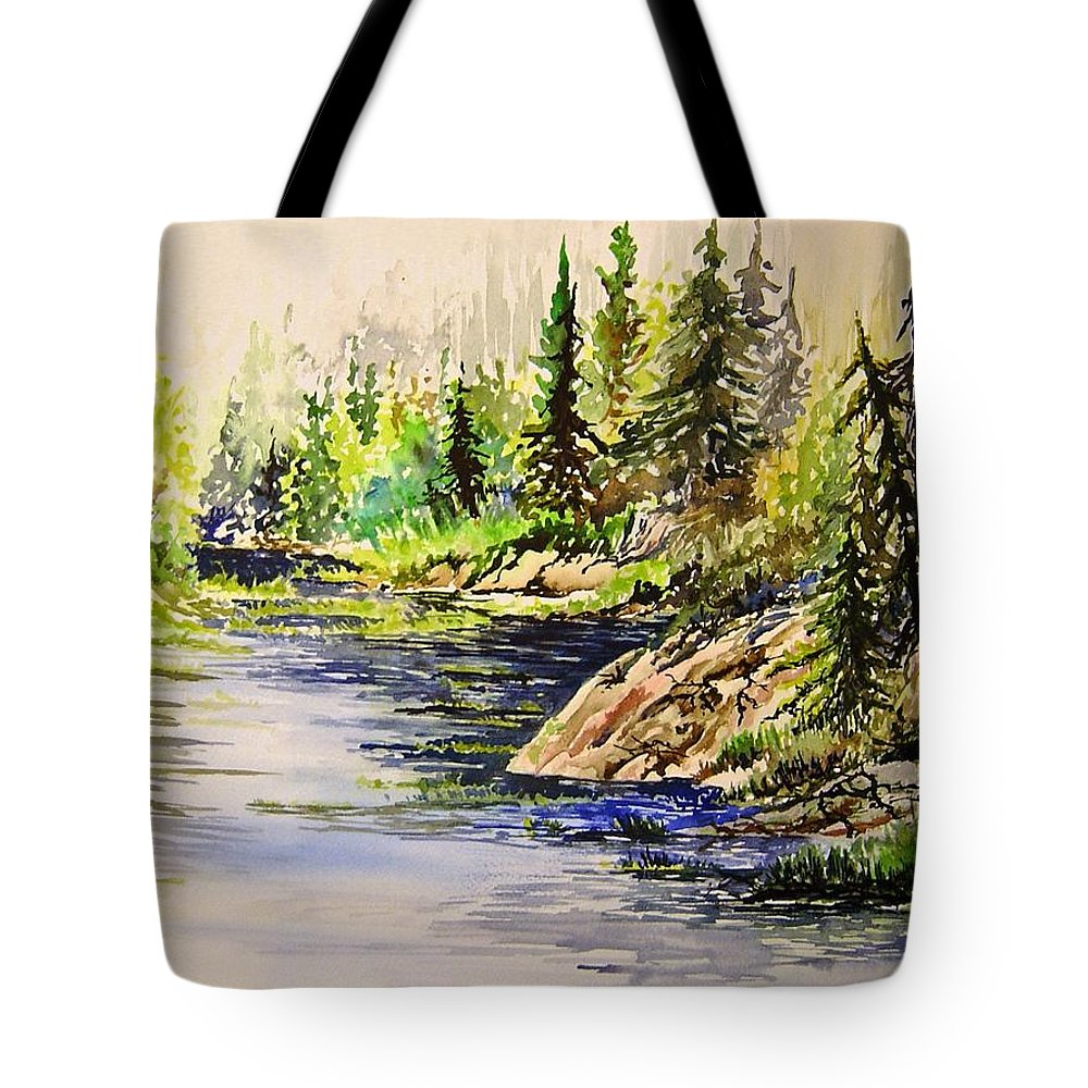 Nutimik Lake Manitoba Landscape Tote Bag featuring the painting Plein Air At Nutimik Lake In Manitoba by Joanne Smoley
