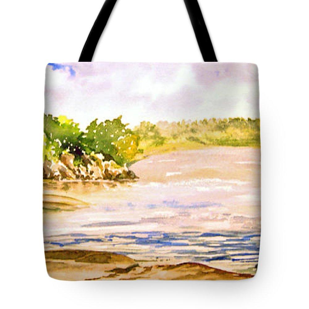 Pine Falls Manitoba Tote Bag featuring the painting Plein Air At Pine Falls Manitoba by Joanne Smoley