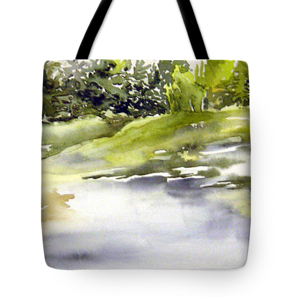 Nutimik Lake Whiteshell Manitoba Tote Bag featuring the painting Plein Air At The Pond At Nutimik by Joanne Smoley