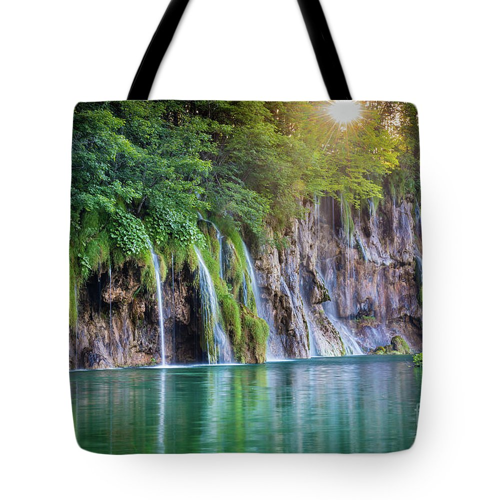 Adriatic Tote Bag featuring the photograph Plitvice Sunburst by Inge Johnsson