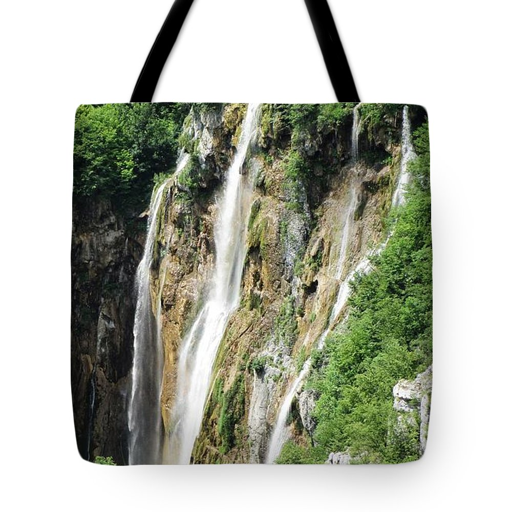 Waterfalls Tote Bag featuring the photograph Plitvice Croatia Waterfalls 2 by Shirley Stevenson Wallis