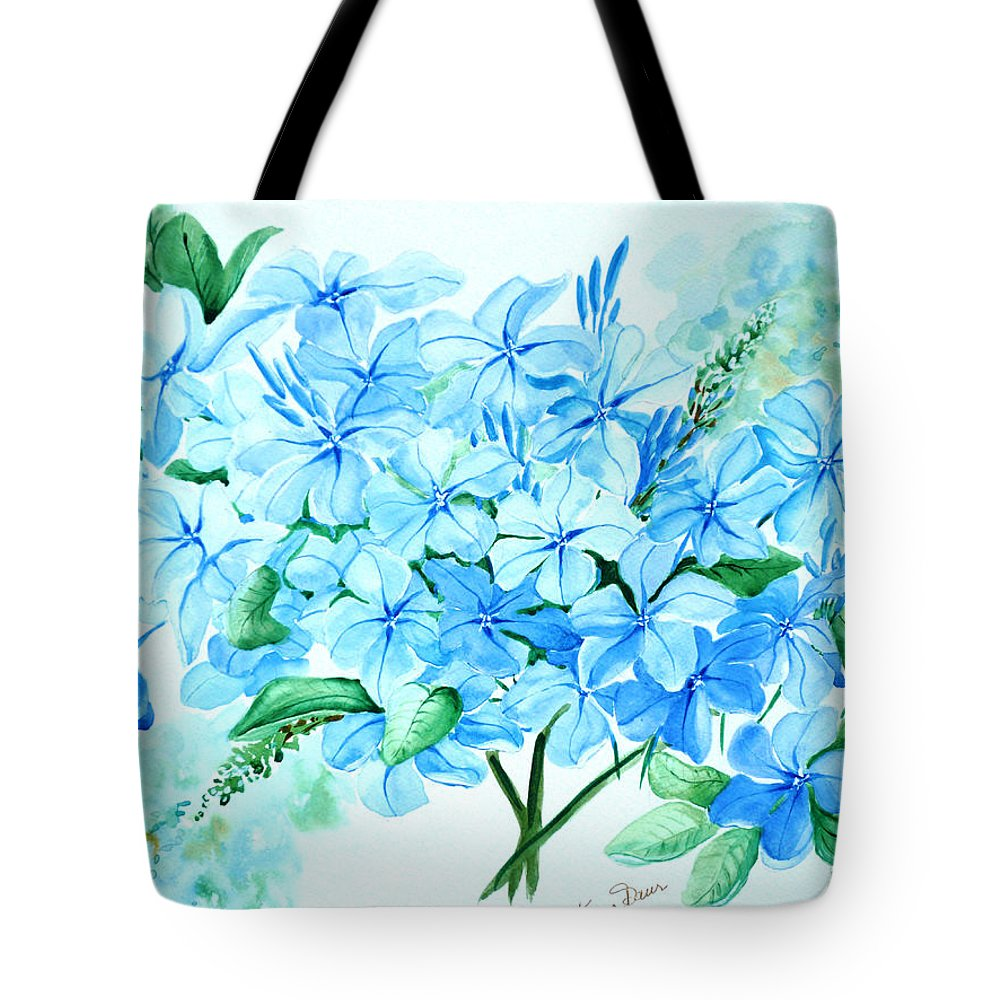 Floral Blue Painting Plumbago Painting Flower Painting Botanical Painting Bloom Blue Painting Tote Bag featuring the painting Plumbago by Karin Dawn Kelshall- Best
