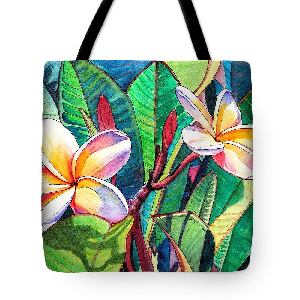 Plumeria Tote Bag featuring the painting Plumeria Garden by Marionette Taboniar