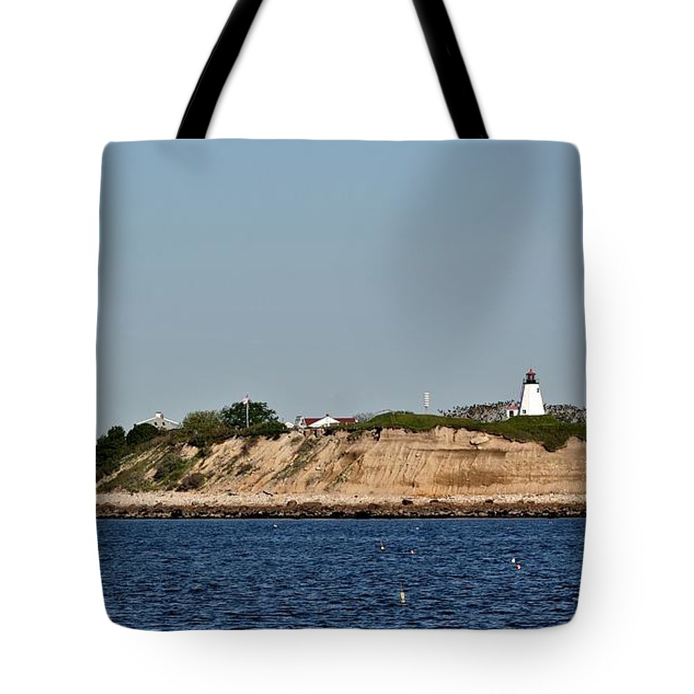 Lighthouse Tote Bag featuring the pyrography Plymouth Bluffs by Calvin Nelson