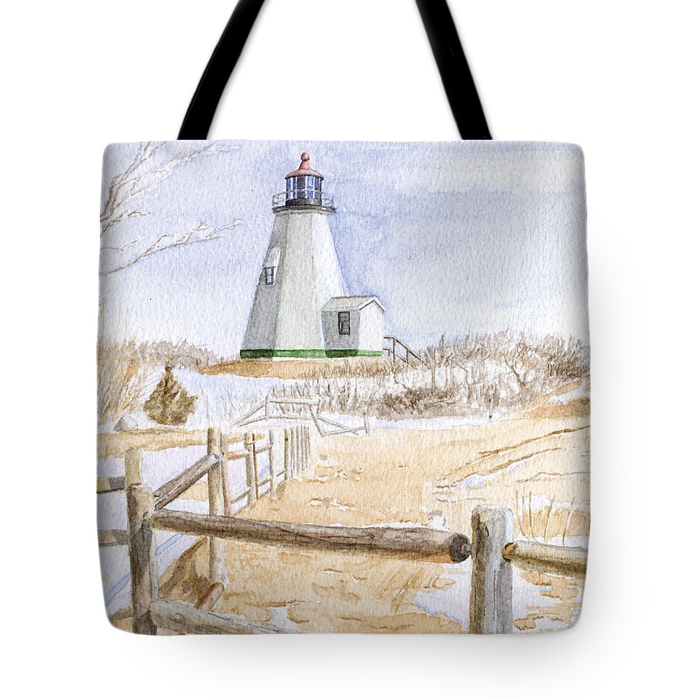 Lighthosue Tote Bag featuring the painting Plymouth Light In Winter by Dominic White