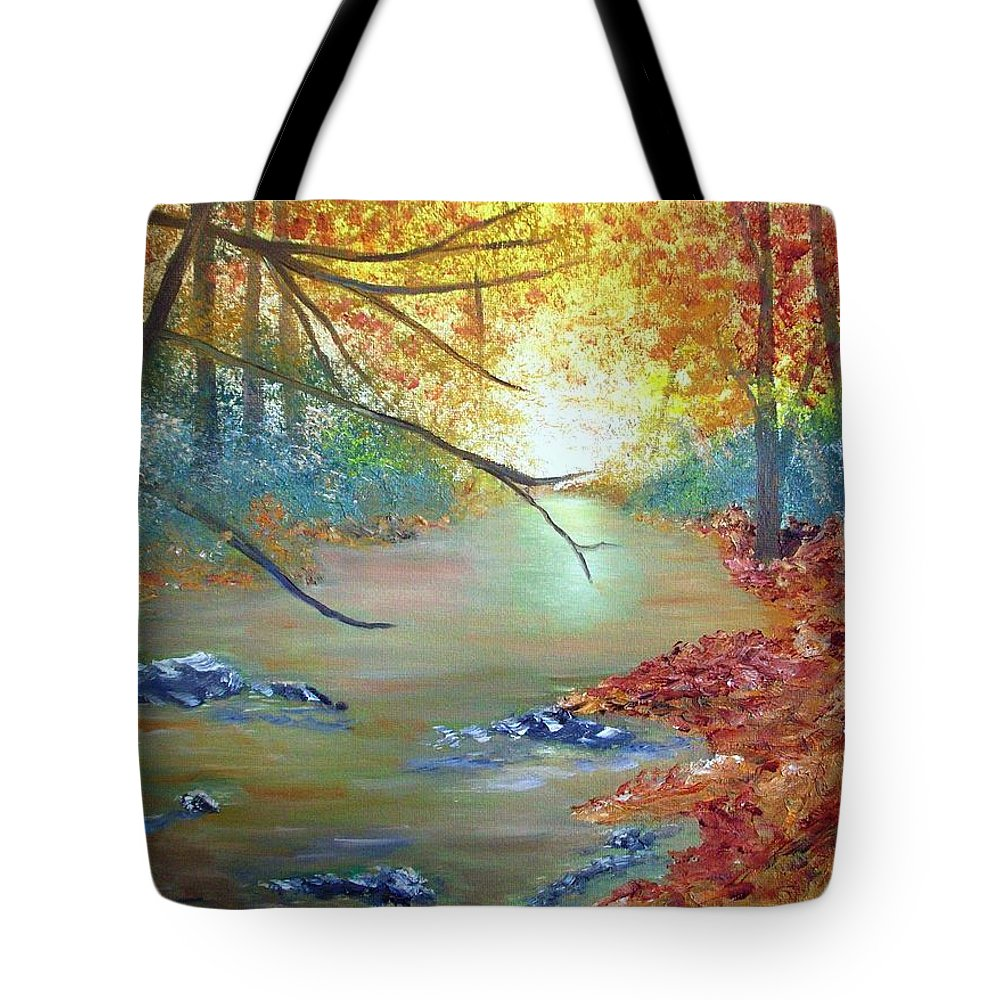 Oil Tote Bag featuring the painting Pocono Creek In Autumn by Nancy Craig