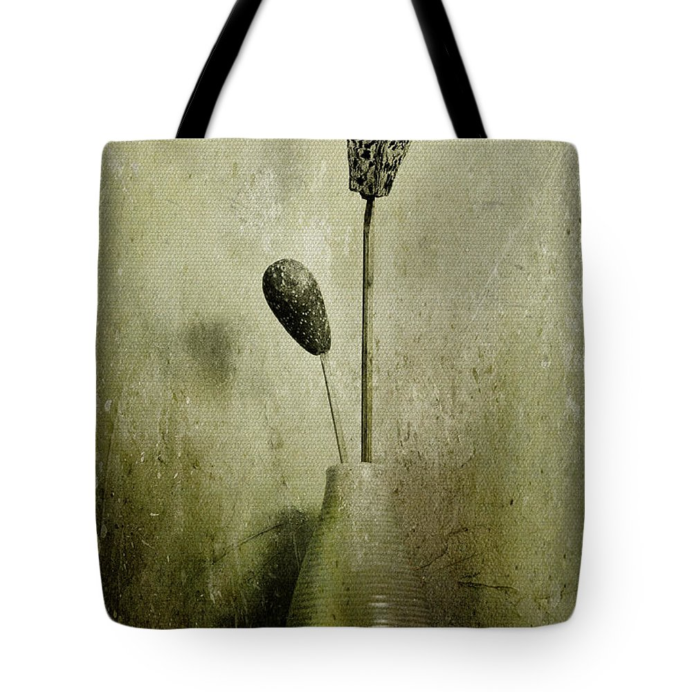 Dried Flowers Tote Bag featuring the photograph Pods In A Vase by Jill Smith