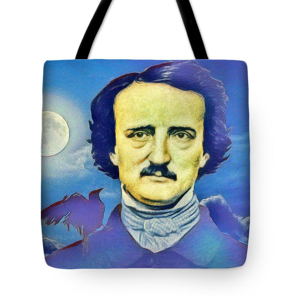 Edgar Allan Poe Tote Bag featuring the digital art Poe by Enrique Meza Costeno