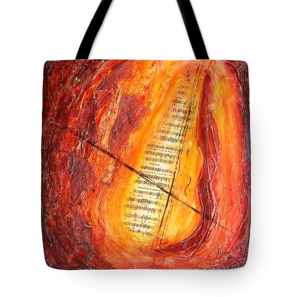 Music Tote Bag featuring the painting Poesial Visual by Ivan Guaderrama