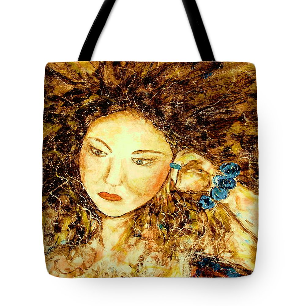 Portrait Tote Bag featuring the painting Poet by Natalie Holland