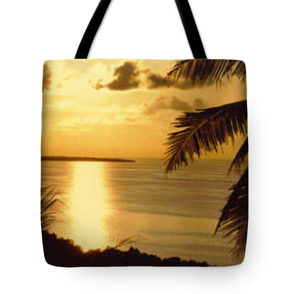 Palm Trees Tote Bag featuring the photograph Pohnpei Sunset by Dina Holland