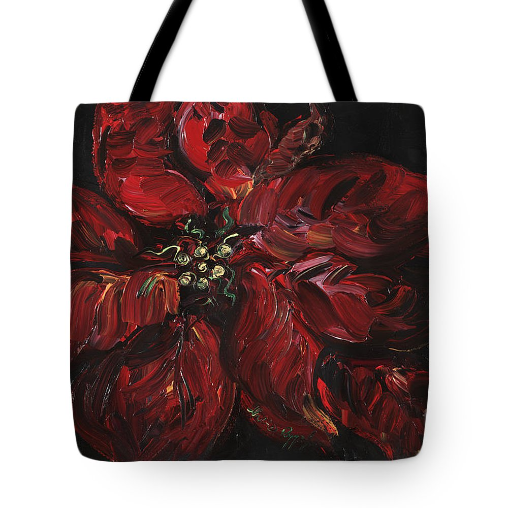 Abstract Tote Bag featuring the painting Poinsettia by Nadine Rippelmeyer