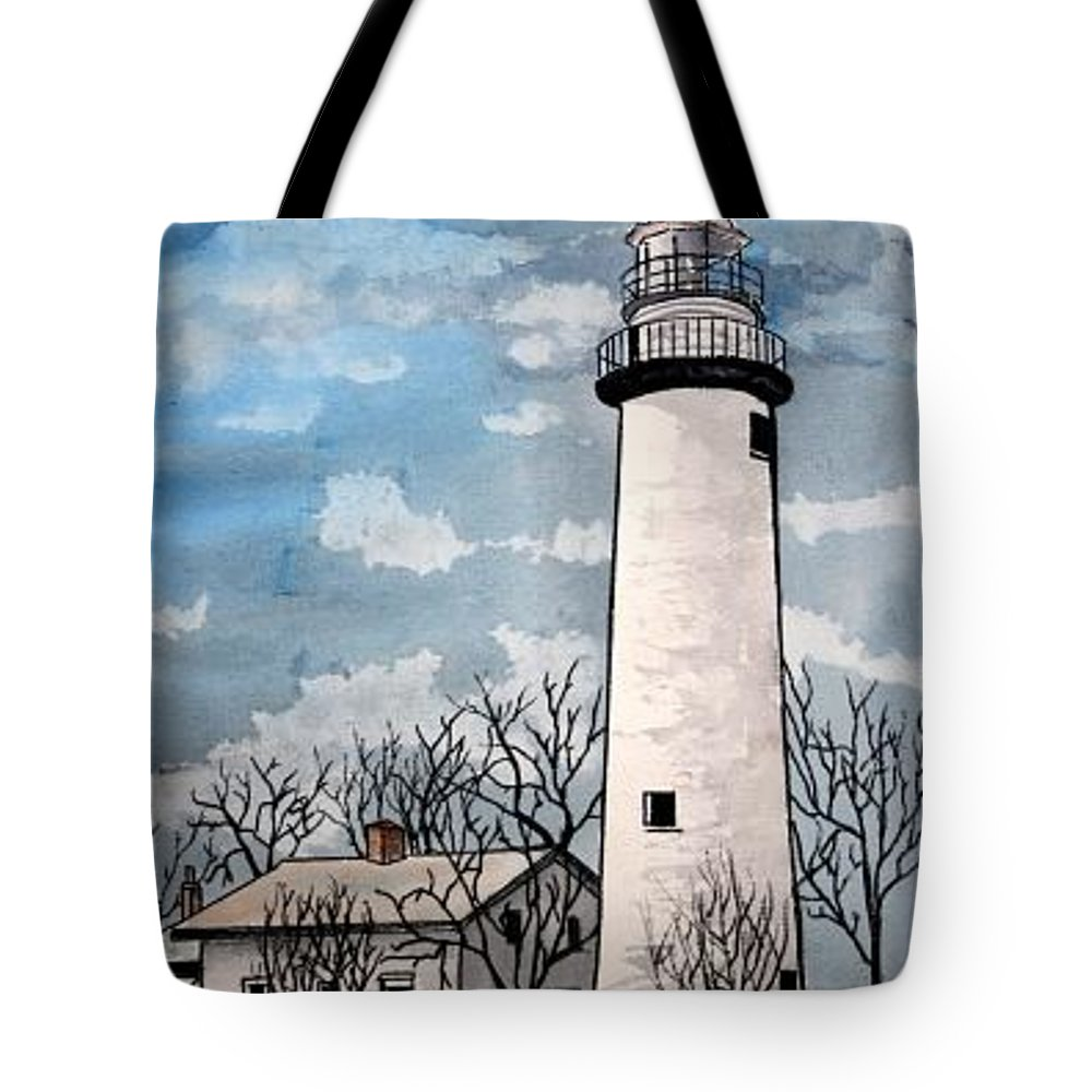 Lighthouse Painting Tote Bag featuring the painting Point Aux Barques Lighthouse by Derek Mccrea