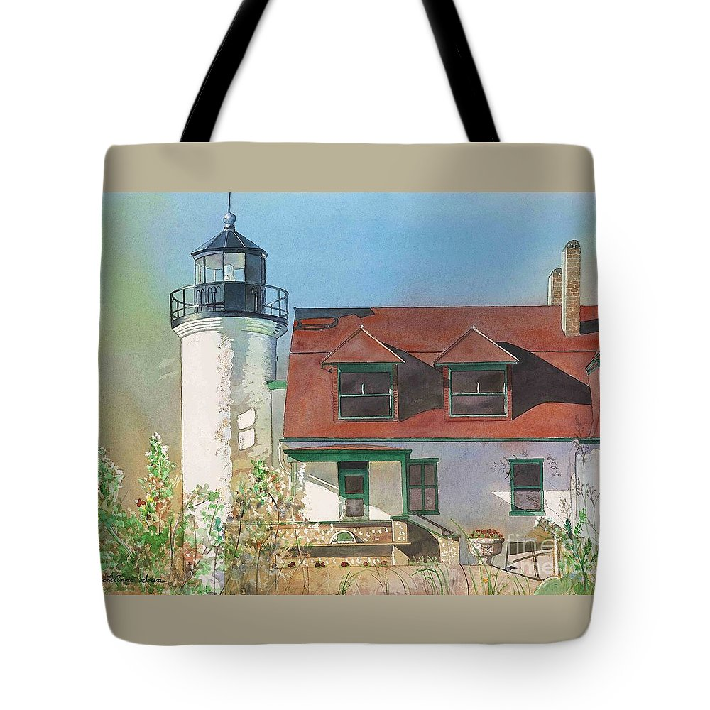 Point Betsie Tote Bag featuring the painting Point Betsie Lighthouse by LeAnne Sowa